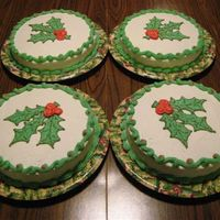 Holly Cakes I made these for my neighbors. Holly leaves drawn in buttercream frosting.