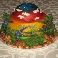 "Halo Birthday Cake Halo birthday cake for my son. I baked a 10"" round, one in an 8"" pie plate, and another in a small stainless steel bowl. Then I..."