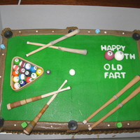 Pool Table White cake, buttercream frosting and all fondant decorations!