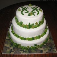 Hunting Theme all white cake with bc icing, leaves for border and stencil for top, bride wanted camo colors but not camo itself