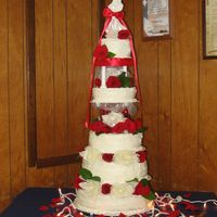 Wedding Cake White And Red This is the first cake that I ever did I was trying to cut costs on my sons wedding so I thought that I would do the cake myself Little did...