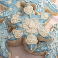 Snowflake Cookies NFSC and royal icing with super pearl luster dust.