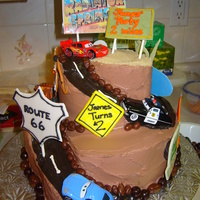 "Cars Made this for my friend's son's 2nd who was devastated when he saw me taking some of his Cars for the cake. 10"" & 6&quot..."