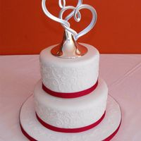 "Small Wedding Cake   Small wedding cake - 6"" & 8"" stacked. Freehanded swirls!"