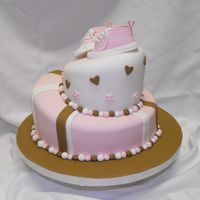 "Baby Shower Topsy turvy baby shower cake - 6"" & 10"""