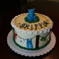 Clothes Line Baby Shower Cake Vanilla Cake with hazelnut filling. Iced in BC with fondant accents and a teddy bear made of molded fondant