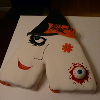 Clockwork Orange Birthday Cake Chocolate Cake covered in marshmallow fondant. Decorated as the movie logo from Clockwork Orange for a guy's 30th birthday cake who is...