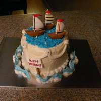 Sail Boats Cookies n cream cake iced in BC with fondant and with gumpaste boats and accents