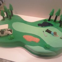 Golf Birthday Cake Chocolate cake with buttercream ,golf cart made out of cereal treats