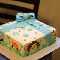 Jungle Themed Baby Shower Cake Baby shower cake butter cream with fondant accents