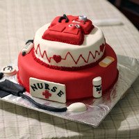"Nurse Cake  12"" & 8"" round cakes, RKT scrubs on top. Molded chocolate accents. I had a problem with the top layer bulging but for the..."