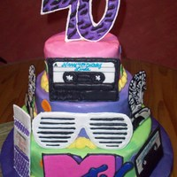 Awesome 80's Fondant tiered cake w/ color flow art