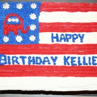 Republican Birthday Birthday cake for a GOP member with the GOP elephant combined with the American flag.