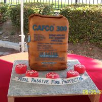 Corporate Grand Opening Cake This cake was done for the Cafco Company. They make bags of fire resistant material. So this cake was a replica of the their product.