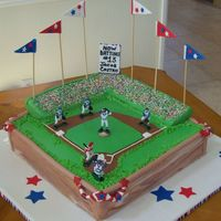 """take Me Out The Ball Game!"" This was a birthday cake, I was inspired by some of the cakes on this site. The photo doesn't show it, but the sides looked like brick..."