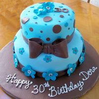 Bows & Polka Dots This is a birthday cake for a 30th birthday. All decorations are made of fondant. Flavors are Yellow with Fresh Strawberry Cream and...