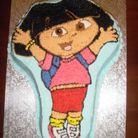 Dora Cake Dora character cake. My little one gets two cakes for her birthday and this is the one she took to daycare. Not exciting to us, but the...