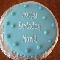Mark's Birthday Cake   My second attempt at a fondant cake! (Notice I didn't post the first...) :) Red velvet cake with MMF & buttercream piping.