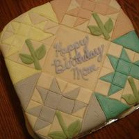 "Quilt Cake  A cake for my quilter-mom's birthday.Inspired by a design in Kathleen Tracy's book ""Remembering Adelia.""9"" square..."