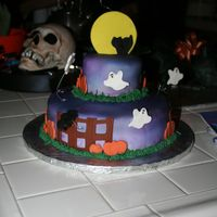 Halloween Ccake Wilton yearbook, My first stacked cake. MMF (first time), airbrushed with Wilton can spray, fondant accents.