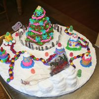 Happy Wholidays My 11yr old made this for a Boys and Girls Club charity gingerbread auction. Everything is edible (gingerbread, candy and RI) except the...