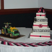Square Offset Wedding Cake Buttercream w/ fondant detail. Grooms cake with bride and groom in the tractor.