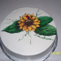 Hand Painted Sunflower buttercream with hand paint sunflower, first time painting on buttercream