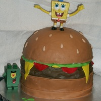 Who Lives In A Pineapple... Great learning experience...I've been wanting to try to make a burger cake for a long time now & finally had the chance with this...