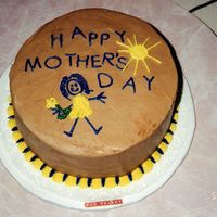 Happy Mother's Day Round Red Velvet cake frosted with chocolate buttercream. Done for fundraiser several years ago.