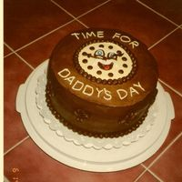 Time For Daddy's Day Round chocolate cake with German chocolate filling, frosted with chocolate buttercream frosting.