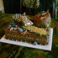 "Army Cake This is another cake that I took on a 7 hour drive! Traveled as two cakes - base of 11x15"" and top of 6"" round. All devils food..."