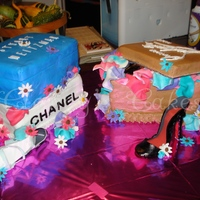 3 Shoeboxes Shoe and shoebox cake for an 18th birthday. Shoe boxes are Chanel, Stuart Weitzman, and Christian Louboutin. Everthing is edible, shoes (my...