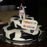 Cow Hide Cake Black & white fondant covered cake.