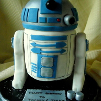 "R2D2   Three 6"" rounds with 1/2 ball on top all covered in fondant. Legs are RKT covered in fondant."