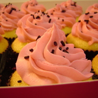 Pink Cupcakes With Black Sprinkles