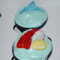 Shark Fin And Gummy Lobster Cupcakes