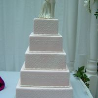 5 Tier Pink Fondant Dummy cake from bridal show, Pink fondant with fondant pearl accents.