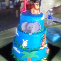 Boy Jungle Baby Shower This was for my best friends baby shower, all buttercream and animals made out of fondant. One of my favorite cakes.