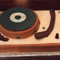 "Old School Record Player Cake Carrot Cake w/ Cream Cheese icing & fondant (version 1....before a little ""incident"" was without chocolate microphones. As a..."