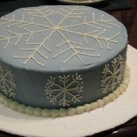 Snowflake Fantasy All buttercream on fondant covered cake board. Still working on smoothing my buttercream.