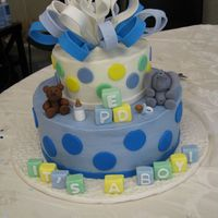 It's A Boy1 First elephant, alphabet blocks, and gum paste bow. Comments welcome.