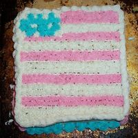 Flag Cake  Yellow cake with buttercream icing. Made 2 cakes in loaf pans, trying something new. So, I decided to decorate it like a flag. Since I...