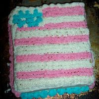 Flag Cake--No Border   This is the same cake I posted earlier, but I took the border off, except for the top. The border was crappy. I like it better this way.