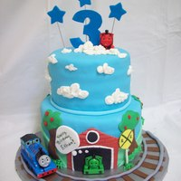 Thomas The Train Customer saw my first one I did similar to this and wanted it in 2tier. All edible except the trains.