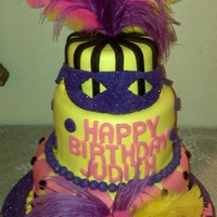 Mardi Grass Fondant Covered Cake