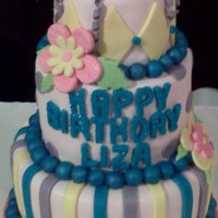 Birthday Celebration Fondant covered cake with fondant details