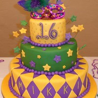 Mardi Gras fondant covered cake, french dragees,