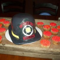 Fire Fighter Graduation! Our friend graduated from the fire department and I made him this cake. It was fun. I have never done a 3D cake. Probably my last time too...