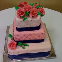 My First Wedding Cake!! I finally did my first wedding cake. Colors were pink and navy blue. Not a favorite combination, but it worked out okay I think. I had a...