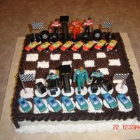 Chess Board With Nascar Pieces I did this cake for my son's 13th birthday!!